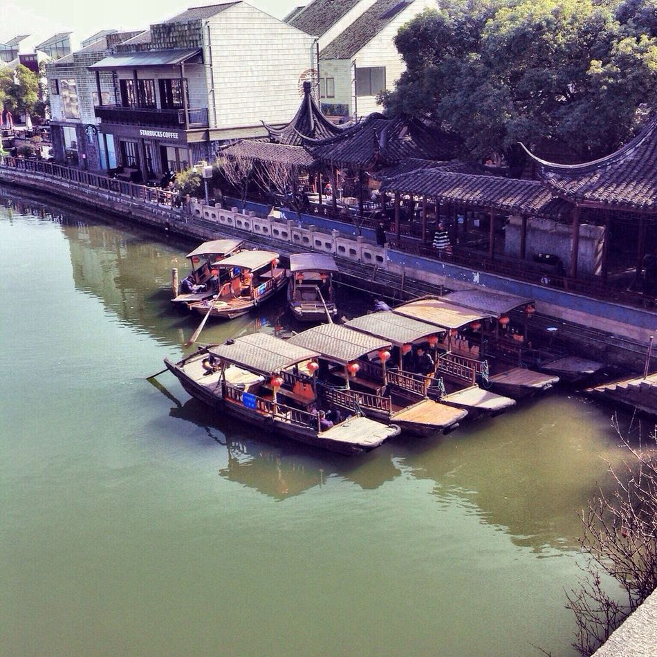 Riverside Waterside Village Boat Sky Tree Travel Destinations Zhujiajiao Shanghai China