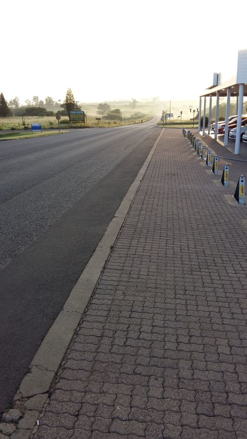 Misty Morning Sunrise Sunrise Silhouette Sunrise And Clouds Clouds And Sky Road The Road Ahead Rural Scene Paving Stone Pavement Paving Roadside Attraction How Do We Build The World? On The Way The Journey Is The Destination