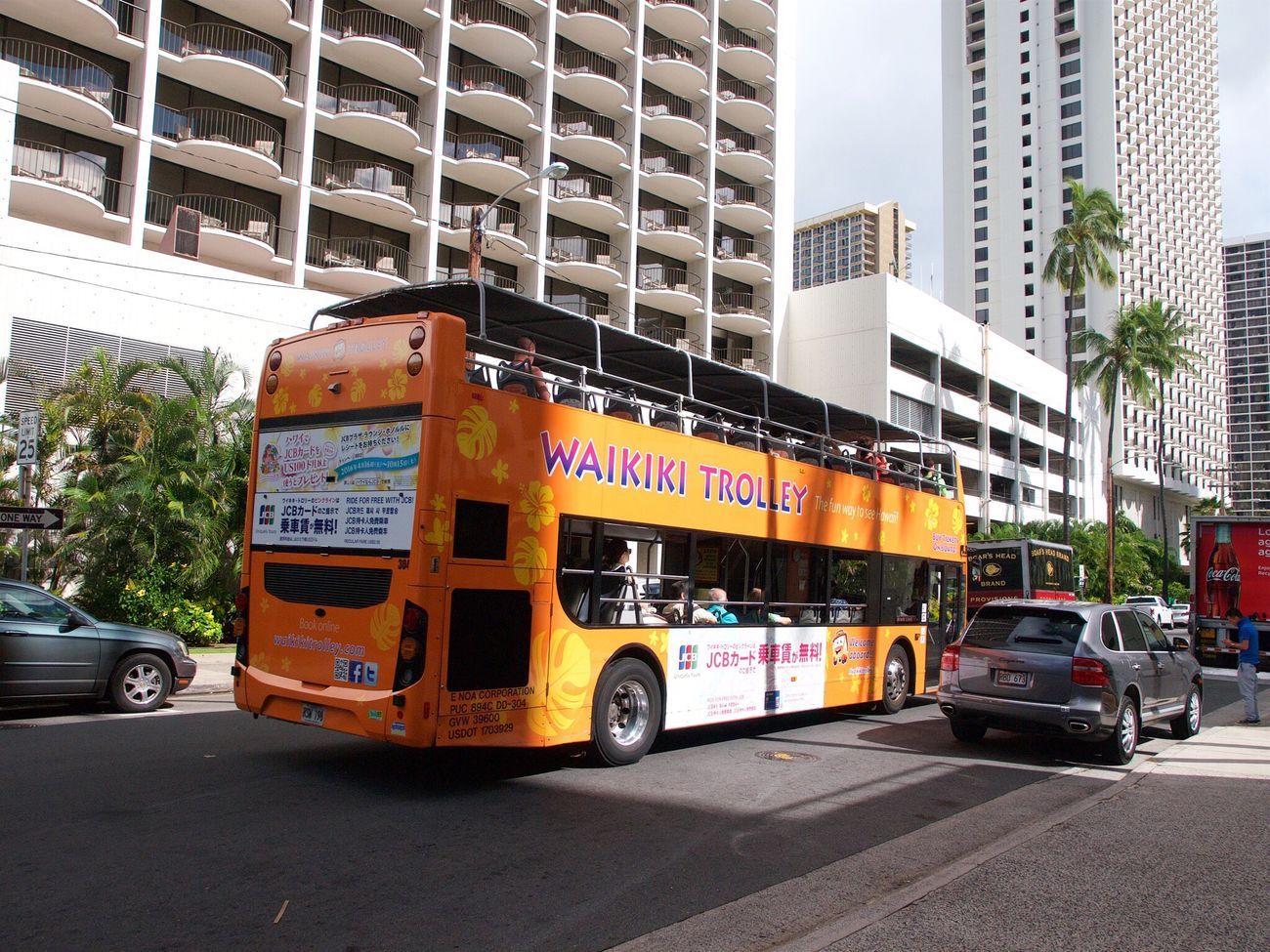 City Building Exterior Architecture Street Land Vehicle Transportation City Life Outdoors Built Structure Fire Engine Day No People Hawaii Trolly Waikiki Tourism Aston