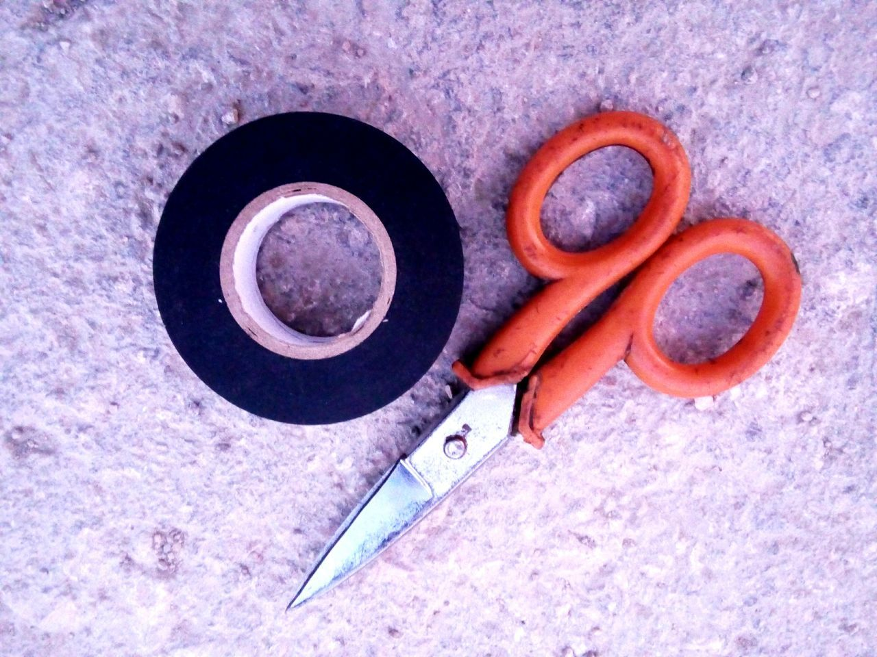No People Close-up Scissors Tape Eletric Eletric Work Eletric Tools Tools Repairing Repair Repair Work Black Tape Orange Scissors Eletric Cables Eletricity Working Tools