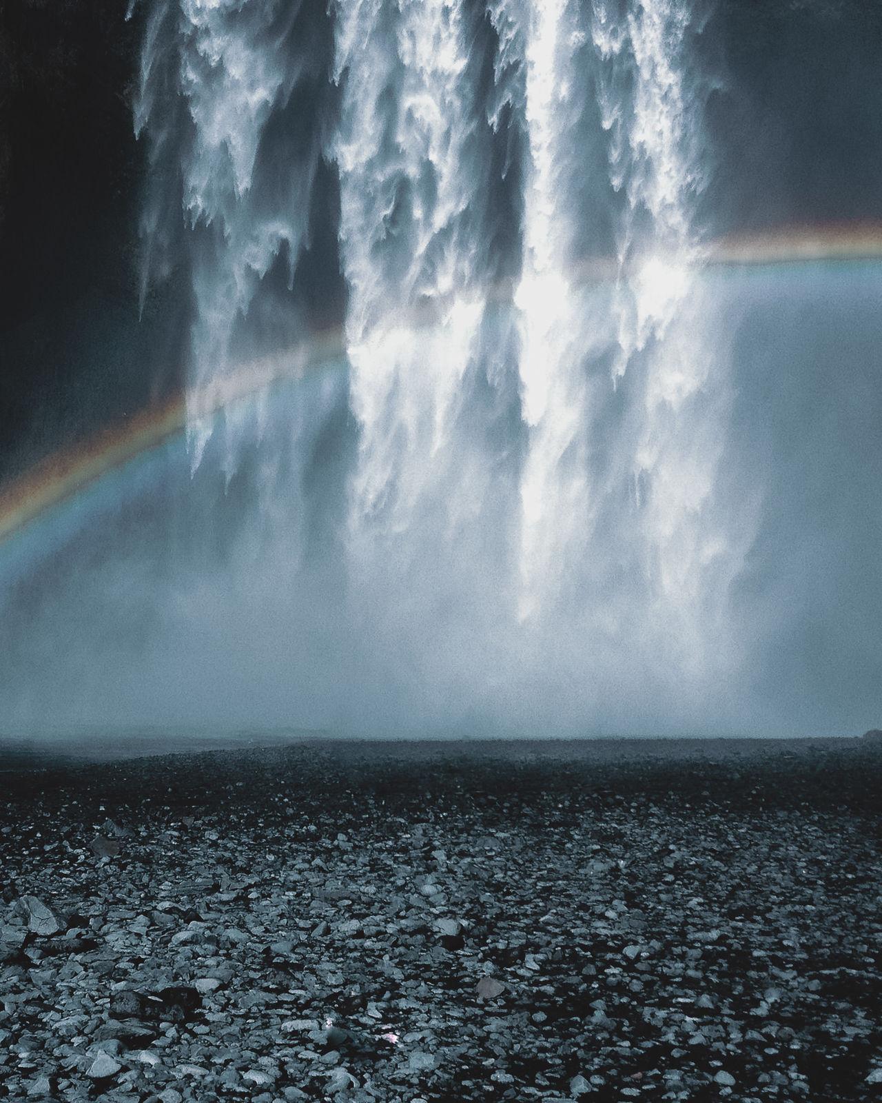 Iceland Waterfall Skogafoss with rainbow Beauty In Nature Day Eye4photography  EyeEm Best Shots EyeEm Gallery EyeEm Nature Lover Horizon Over Water Iceland Landscape Landscape_Collection Nature No People Outdoors Rainbow Scenics Sea Sky Splashing Water