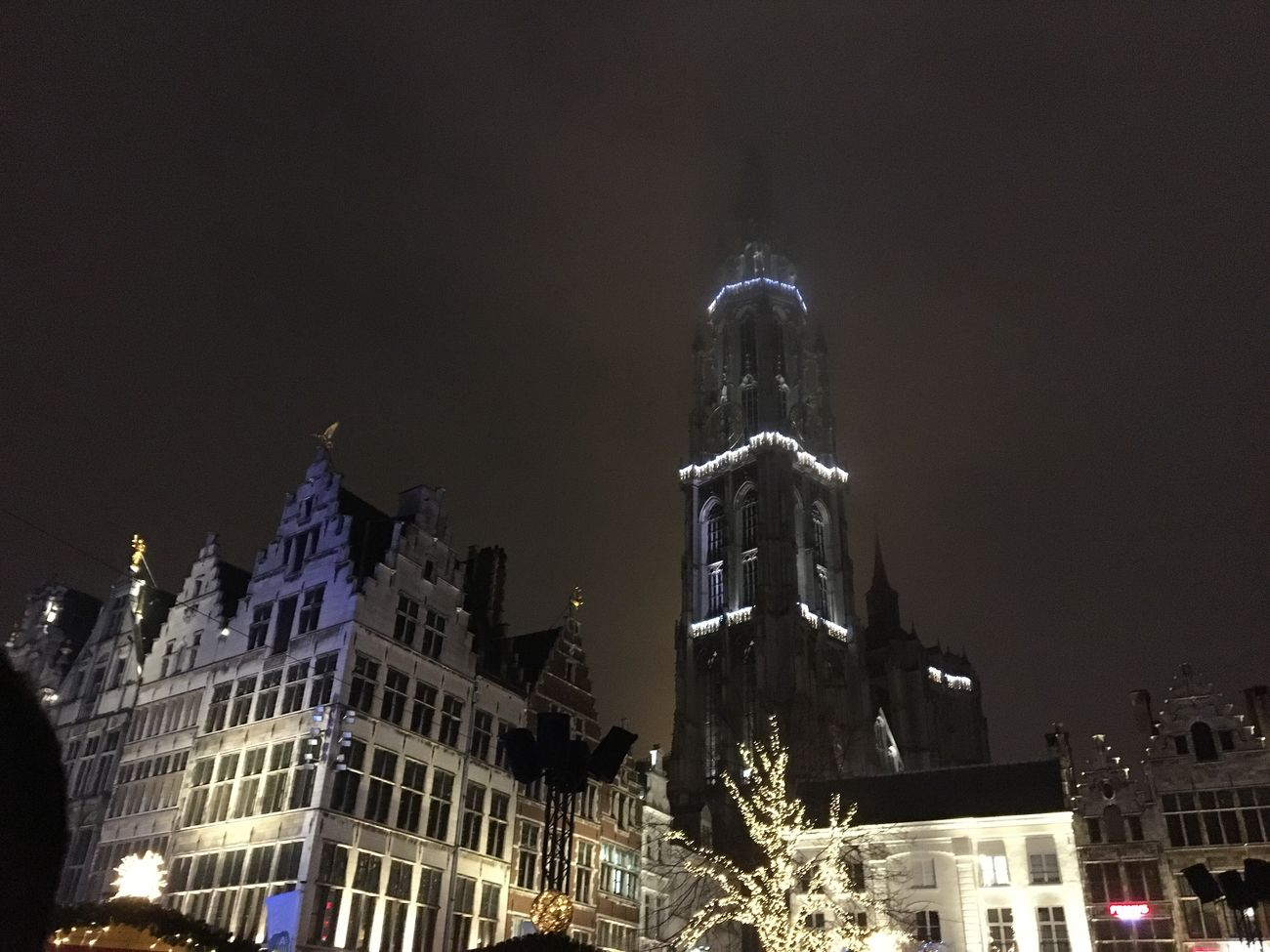 Architecture Building Exterior Built Structure City Low Angle View Night Illuminated No People Outdoors Sky Cathedral Onzelievevrouwekathedraal Antwerpen Groenplaats