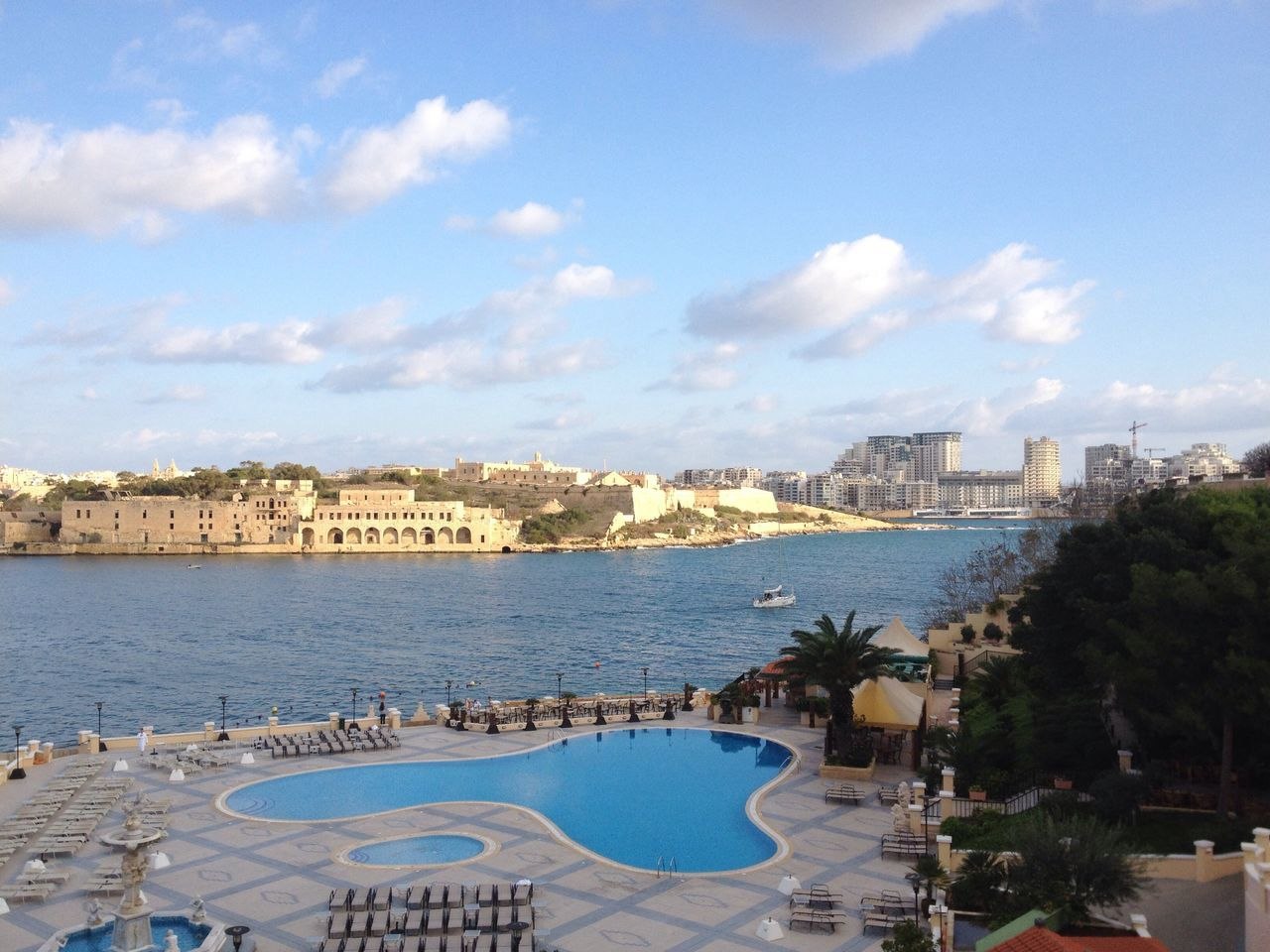 Water Mediterranean  Sea And Sky Malta Excelsiorhotel Pool Fortress View Sunlight Pool View Fall Beauty Gazing The Purist (no Edit, No Filter) IPhoneography Fleeing Seasons Port View Traveling Off Season
