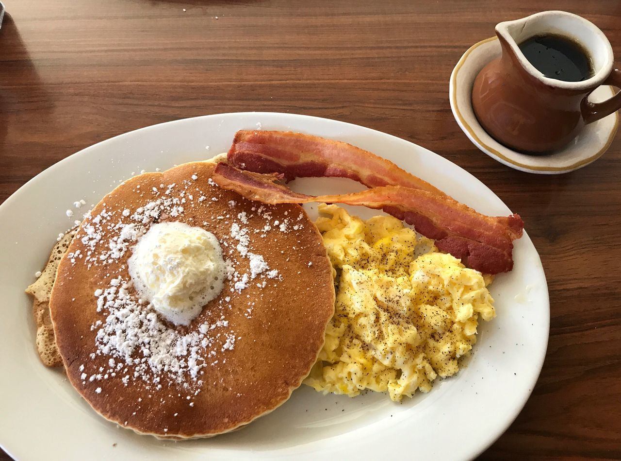 food and drink, breakfast, plate, table, coffee cup, food, coffee - drink, freshness, drink, indoors, bread, ready-to-eat, no people, serving size, toasted bread, fried egg, pancake, sausage, close-up, healthy eating, bacon, day