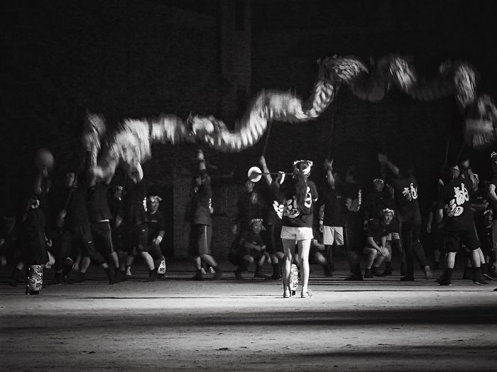Discover Your City Suwamachi Noir 龍踊り( Jyaodori ) Practice Time  of a October festival, Nagasaki Kunchi. Nightphotography Black And White People Are People / LUMIX GX1 LUMIX G VARIO 14-45/F3.5-5.6 F/5.6 DIGITAL ZOOM plus Yesterday Night