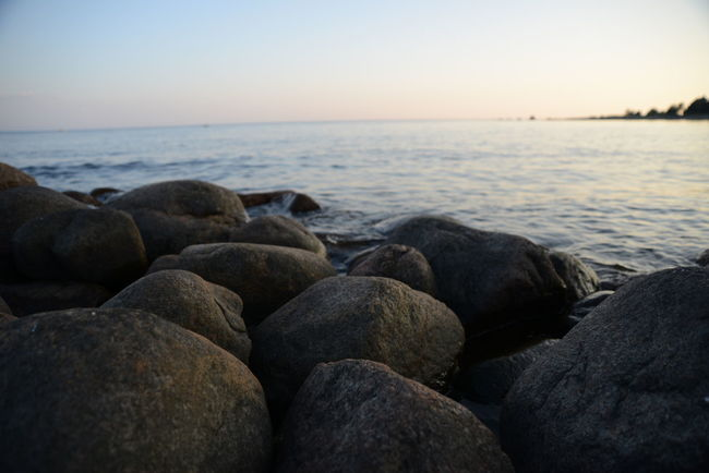 Baltic Sea Calm Evening Gulf Of Finland Horizon Over Water Idyllic No People Non-urban Scene Outdoors Pebble Rippled Rock Rock - Object Scenics Sea Sea And Sky Shore Stone Sunset Tranquil Scene Water White Night
