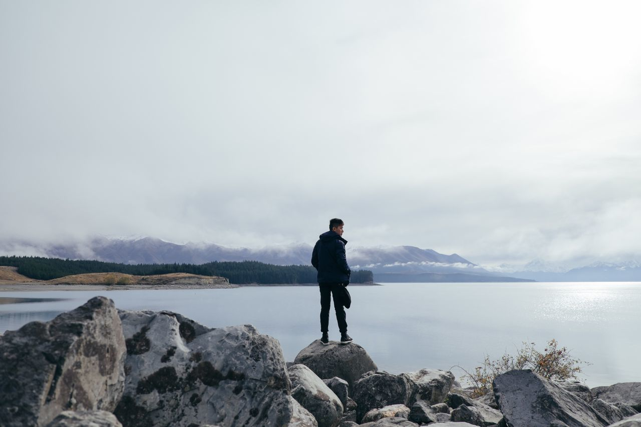 Mountain Rock - Object Full Length Scenics One Person Cloud - Sky Tranquil Scene Standing One Man Only Nature Beauty In Nature Lake Tranquility Water Only Men Day Sky Men Outdoors Businessman FUJIFILM X-T1
