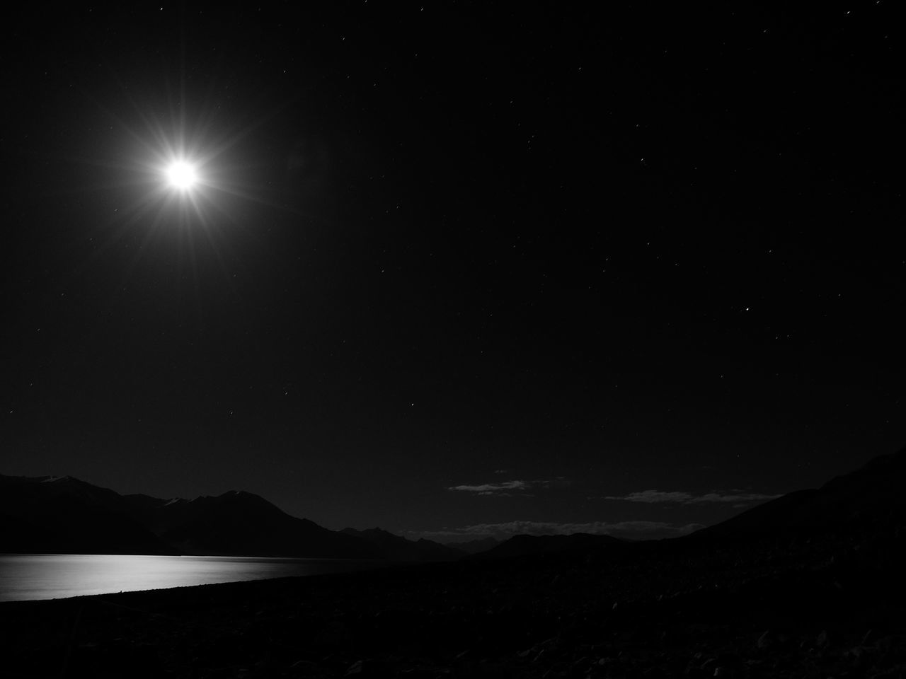 Astronomy Black And White Jammu And Kashmir Landscape Leh Ladakh Moon Nature Night No People Outdoors Pangong Lake Pangong Tso Scenics Sky Space Star - Space