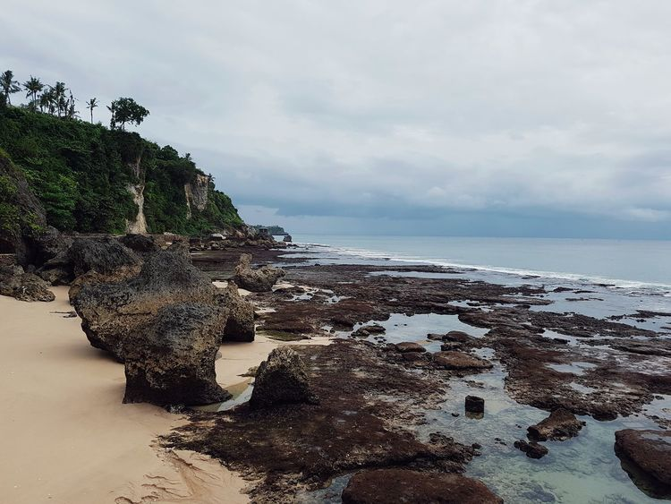 Sea Beach Sand Water Horizon Over Water Cloud - Sky Nature Sky Scenics Beauty In Nature Tranquility Tranquil Scene Outdoors Travel Destinations No People Landscape Summer Wave Blue Day Rocks And Water Rocks Bali, Indonesia Bali