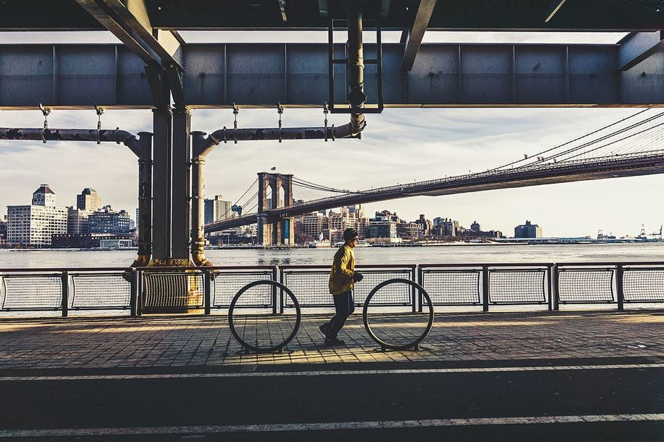 Beautiful stock photos of fitness, Architecture, Bridge - Man Made Structure, Brooklyn Bridge, Building Exterior