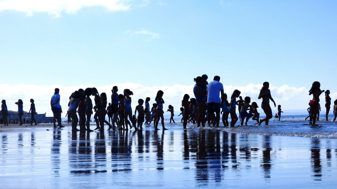 Togetherness Beach Life Leisure Activity Children Playing On Beach Water Sky People Day Sea Nature Outdoors Large Group Of People Seaside