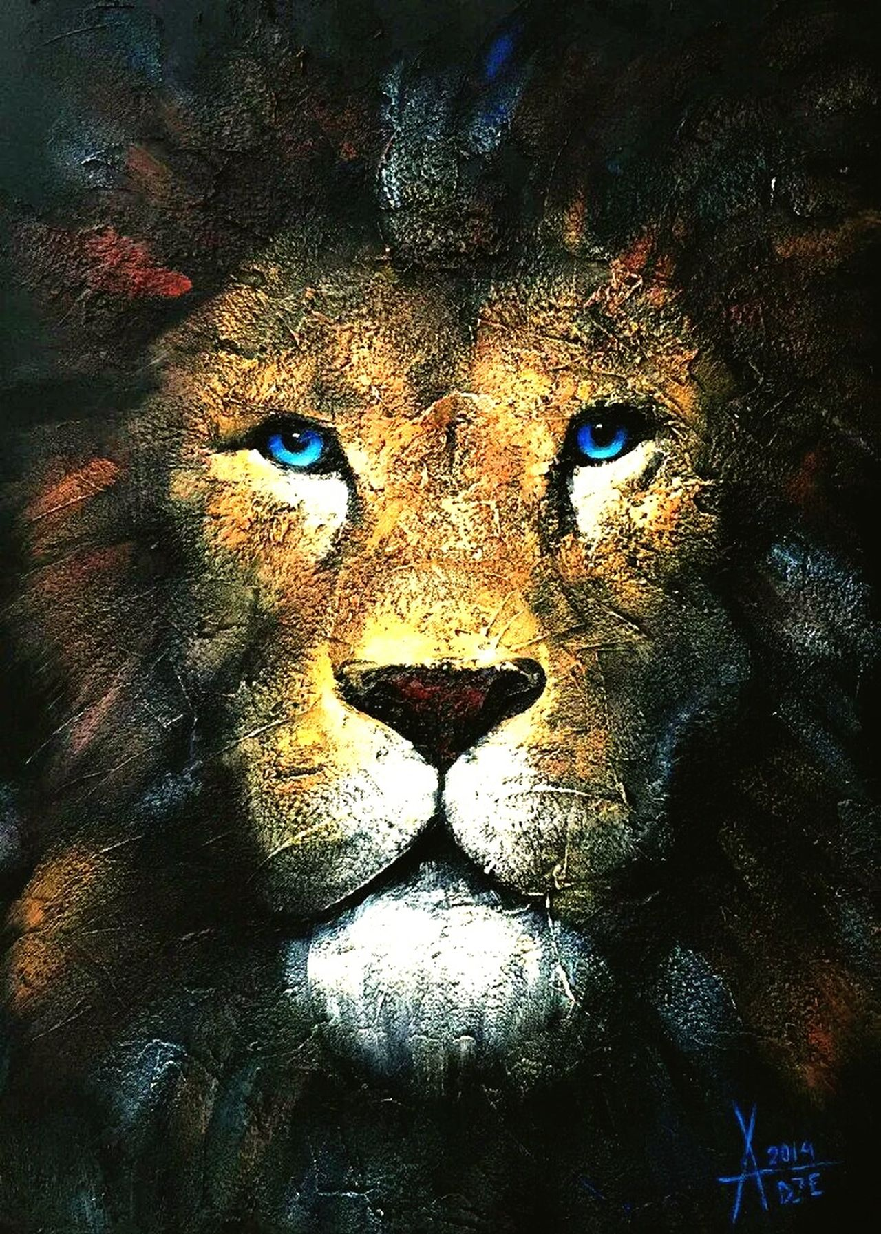 Close-up One Animal Animals In The Wild Full Frame Animal Themes Portrait No People Lion Lions Head Lionhead Lion's Head Lion Head Lionshead Paint Painting Art ArtWork Oil Painting Oilpainting Alla Dze Art Is Everywhere