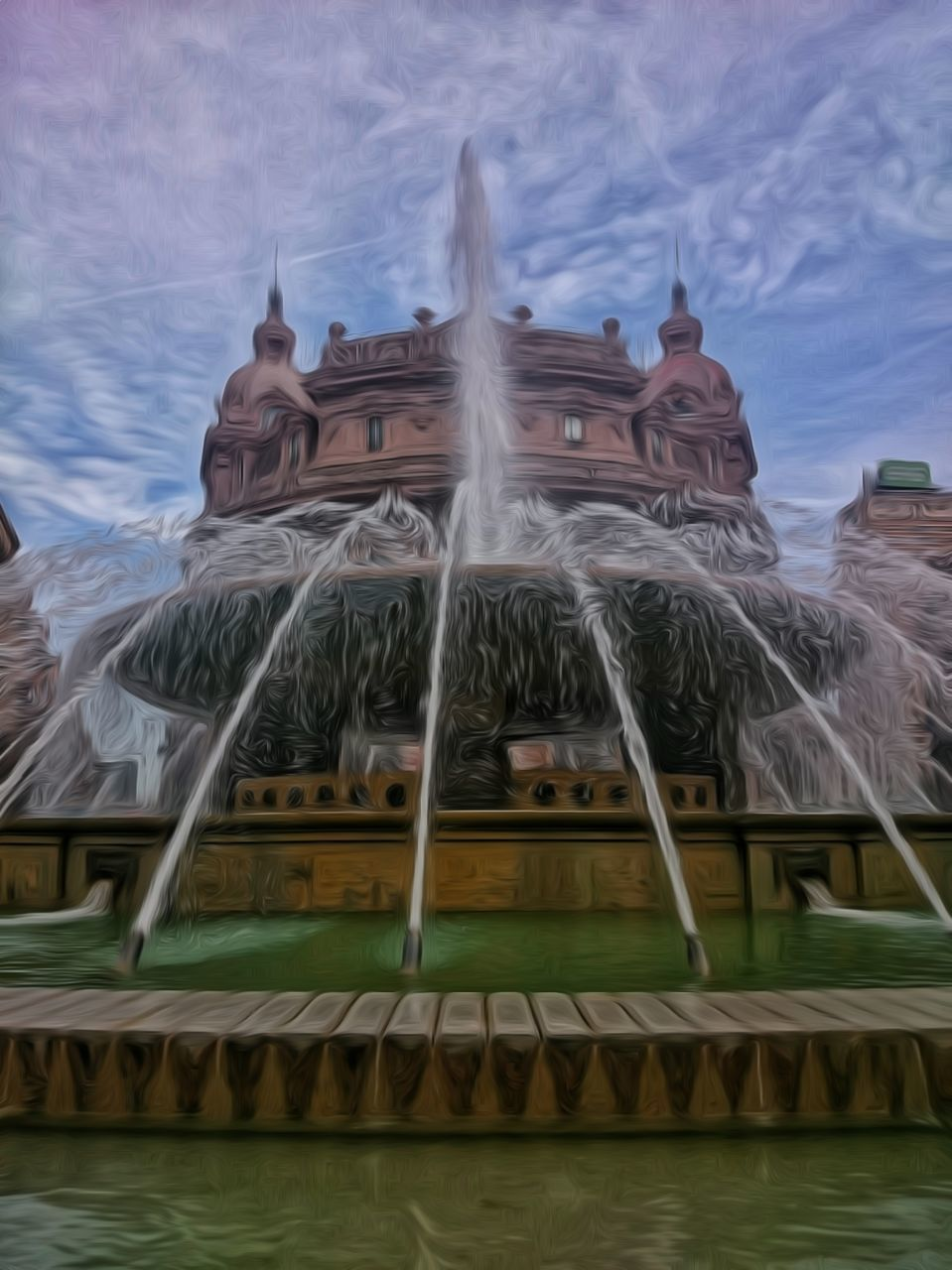 spirituality, religion, building exterior, built structure, low angle view, architecture, place of worship, statue, day, sculpture, water, cloud - sky, outdoors, sky, travel destinations, no people, carousel