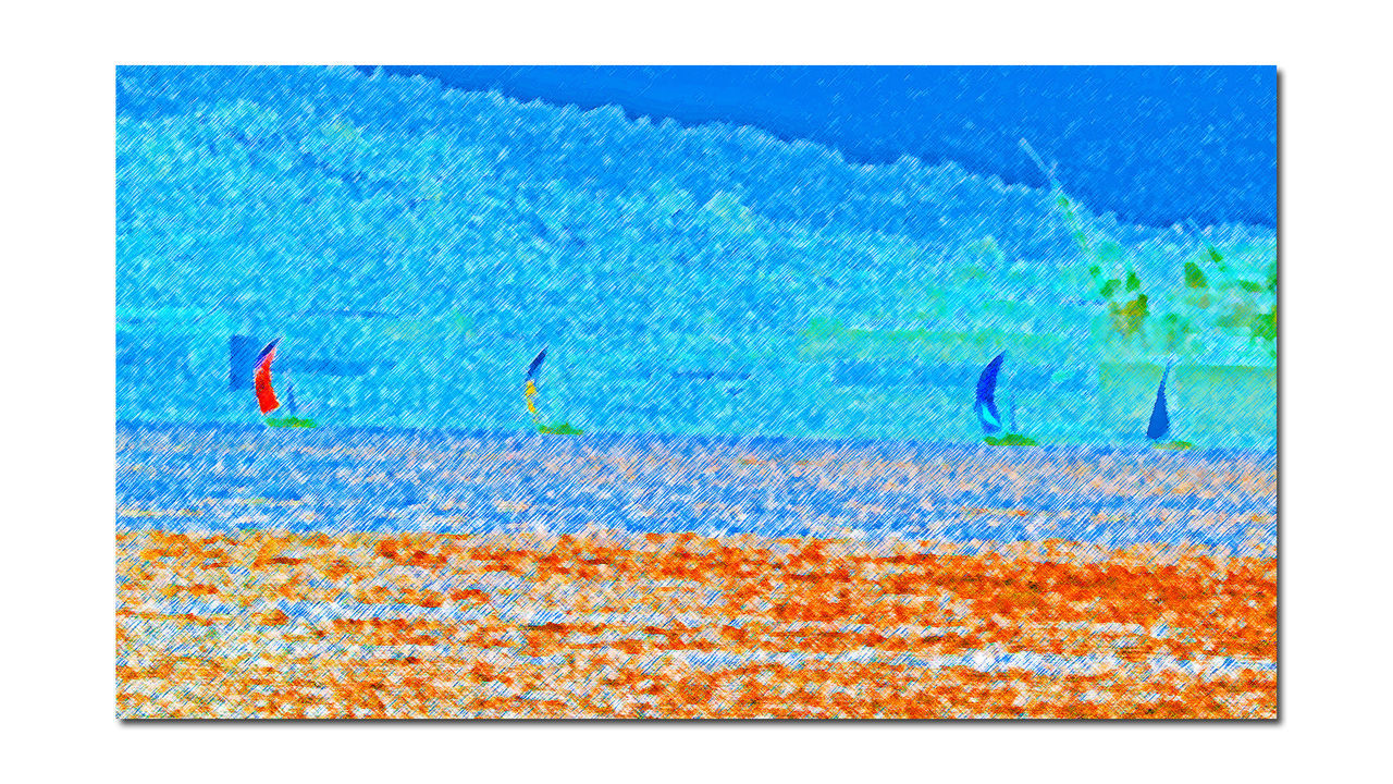 Sailboats @ Middle Harbor 3 San Francisco Bay Sailboats Abstract Creative Edit Colored PencilPhoto Painting Crosshatch Effect Waterfront Water Hills Of San Francisco Construction Crane Landscape Landscape_photography Landscape_Collection