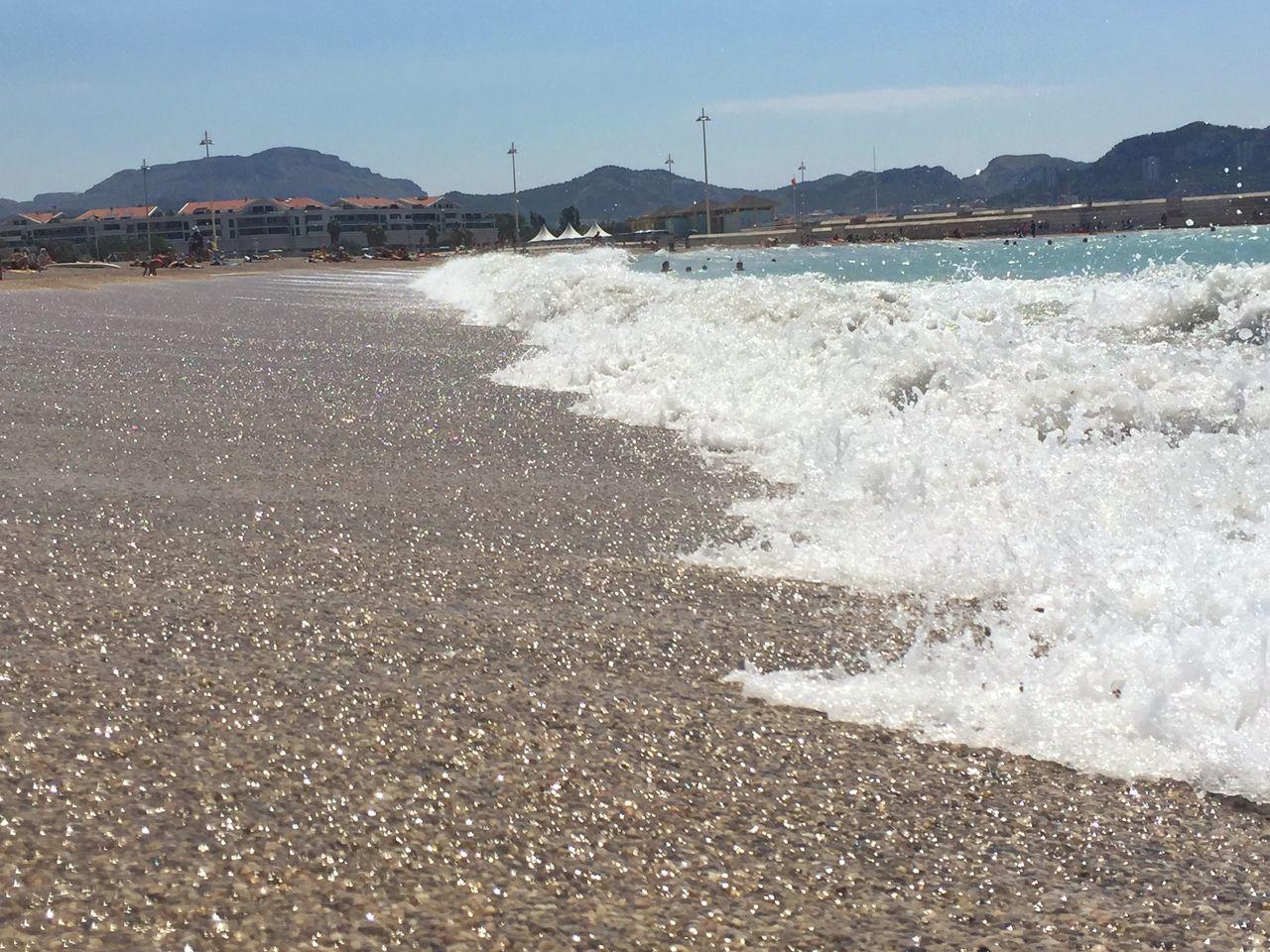 Wave Splashing On Beach Against Sky