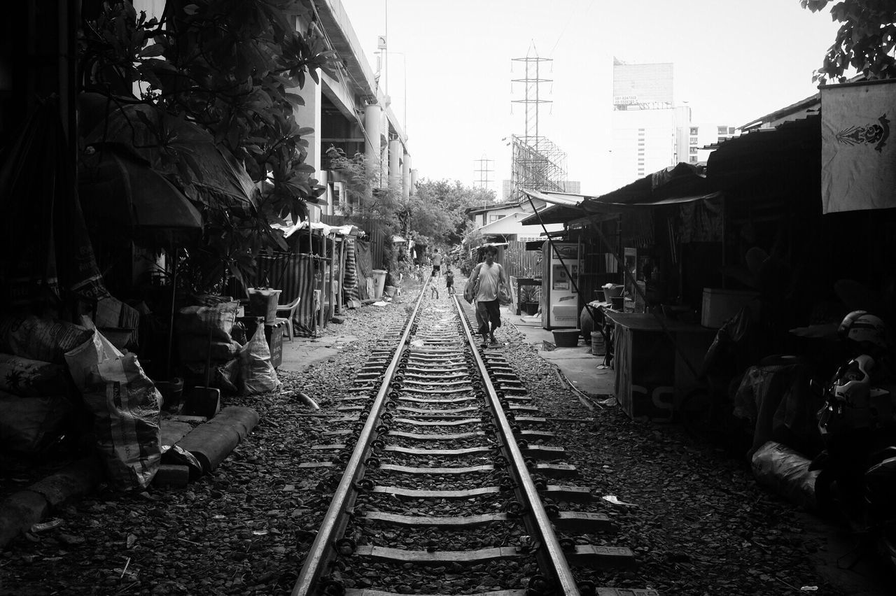 Railroad Track Transportation Outdoors Monochrome Blackandwhite Street Photography Black And White Bw_collection Bangkok