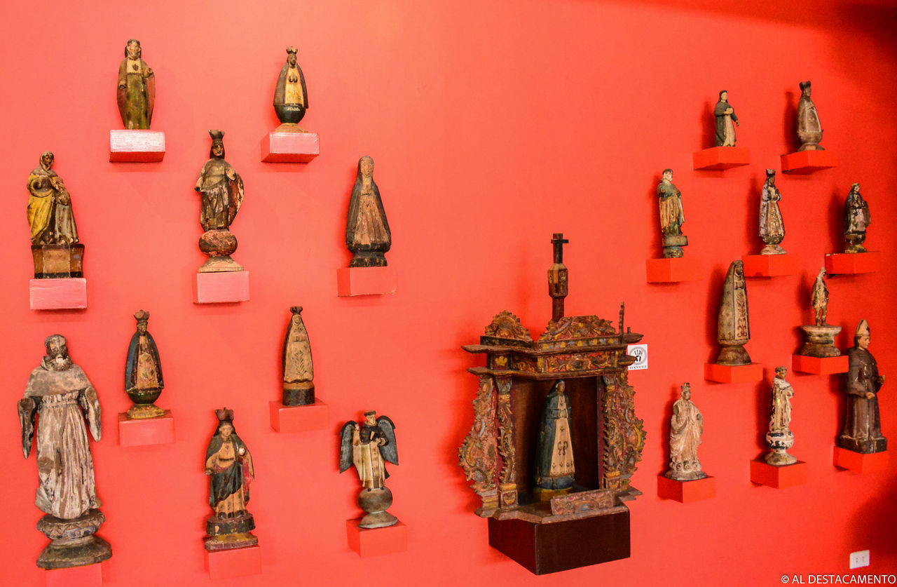 no people, shelf, indoors, statue, variation, large group of objects, red, day