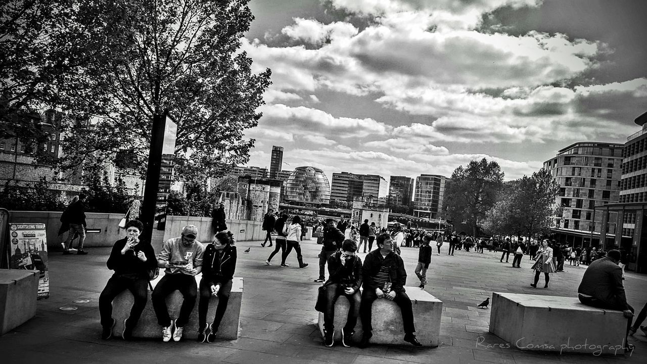 London Eye Large Group Of People Architecture Black & White City LifLON
