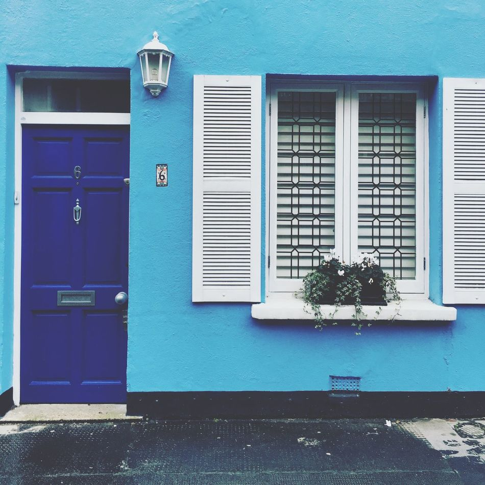 London Chelsea House Blue Building Exterior Built Structure Architecture Window Door Stone Cottage Europe