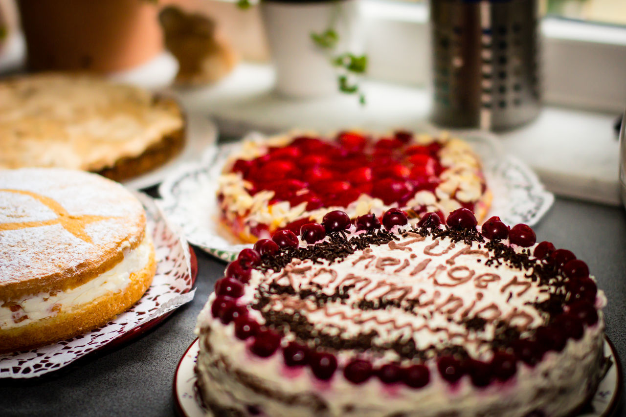 homemade first communion cake Cake Cherries Close-up Day Dessert Food Food And Drink Freshness Indoors  Indulgence No People Plate Ready-to-eat Sweet Food Table Temptation