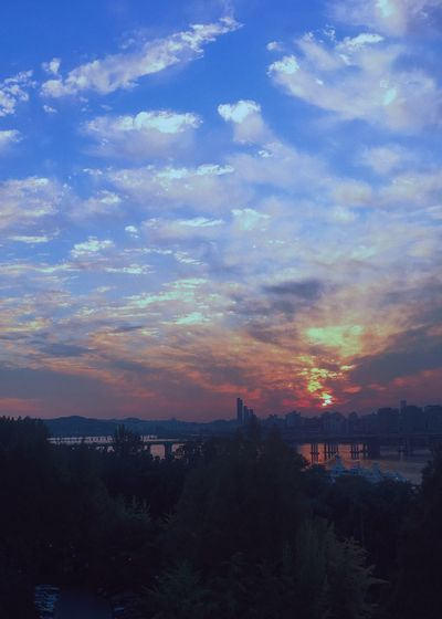 Sky Sunset Beauty In Nature No People Silhouette Nature Cloud - Sky Cityscape Seoul, Korea Hanriver Outdoors Scenics Landscape Building Exterior Built Structure Water City Tree Day First Eyeem Photo
