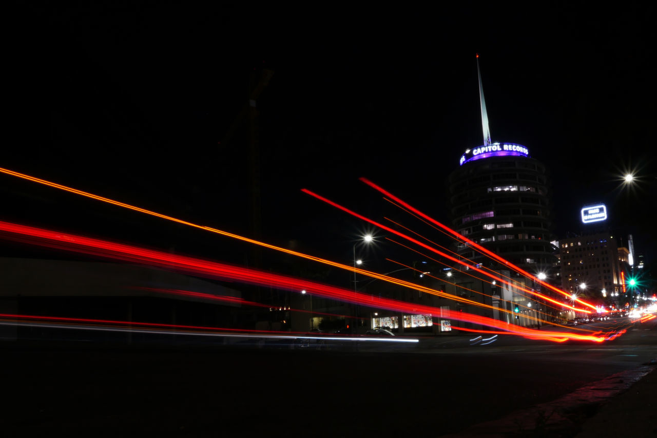 Architecture Blurred Motion Capitol Records Capitol Records Building City Hollywood Sign Illuminated Light Trail Lights In The Dark Long Exposure Motion Neon Night No People Outdoors Speed Stars Stars & Dreams The Beatles Walk Of Fame