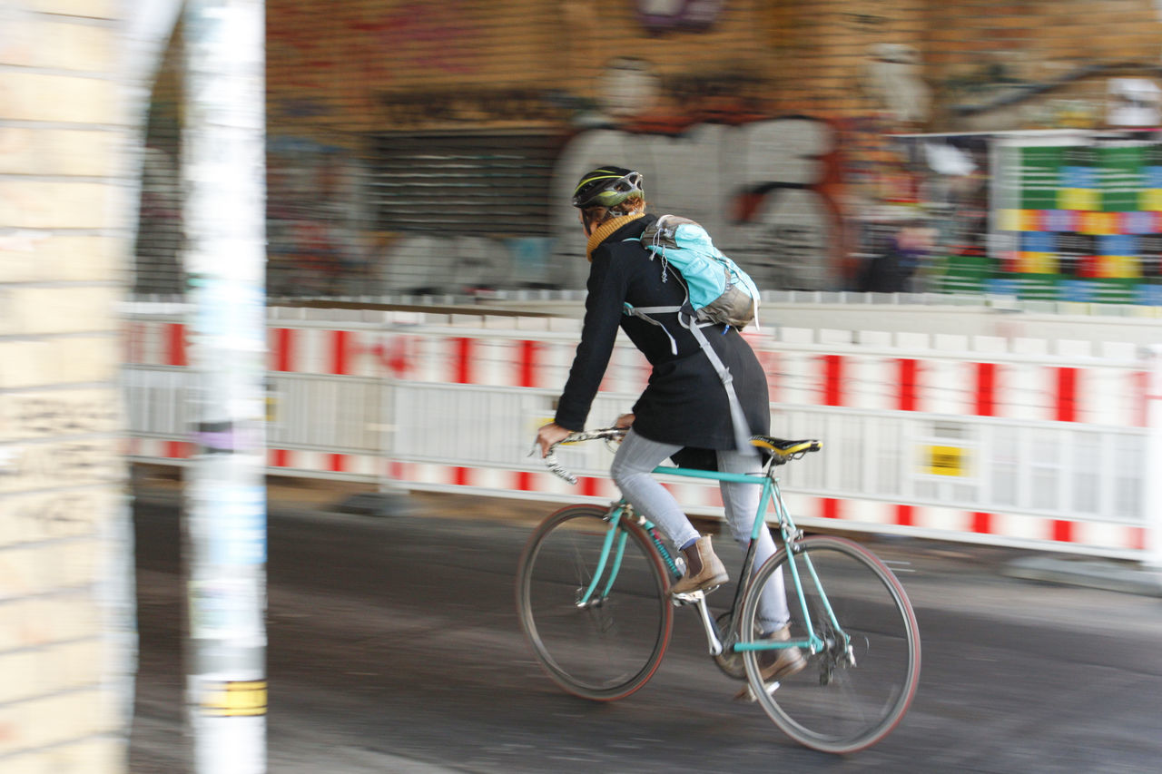 Into the tunnel. Berlin Berliner Ansichten Bicycle Blurred Motion City Construction Cycling Day Full Length Headwear Land Vehicle Lifestyles Mode Of Transport Motion Movement One Person Outdoors People Real People Riding Streetphotography Transportation Urban Women Young Adult