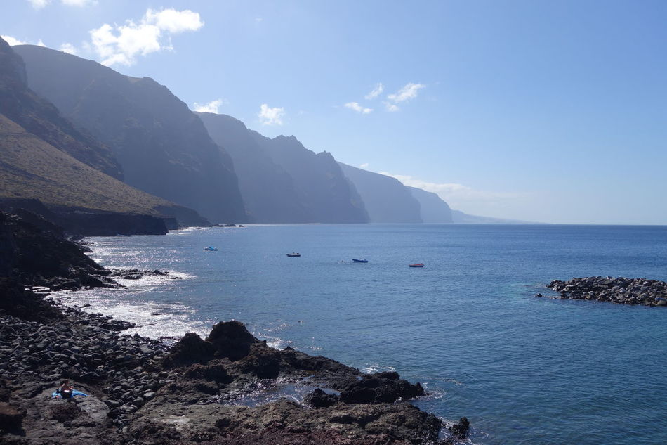 Sea Water Nature No People Beauty In Nature Beach Outdoors Scenics Mountain Beauty Landscape Day Horizon Over Water Nautical Vessel Sky Cliff Los Gigantes Tenerife Coast Coastline Rock Formation Beauty In Nature Rock - Object
