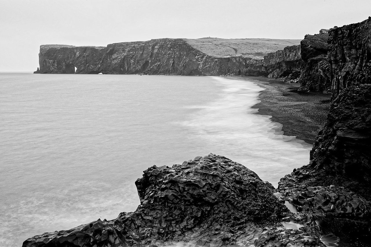 Bestoftheday Black & White Blackandwhite Canon Cliff Day Filter Full Frame Iceland La Landmesser Landscape Mountain Nature Outdoors Photooftheday Picoftheday Rock Rock - Object Scenics Sky Vik Water