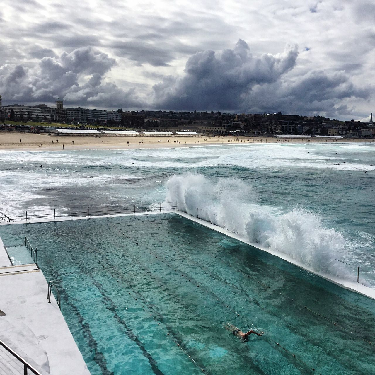 One lonely swimmer........... At Bondi icebergs! Bondi Beach Sydney Water Sea Wave Surf Swimming Clouds And Sky
