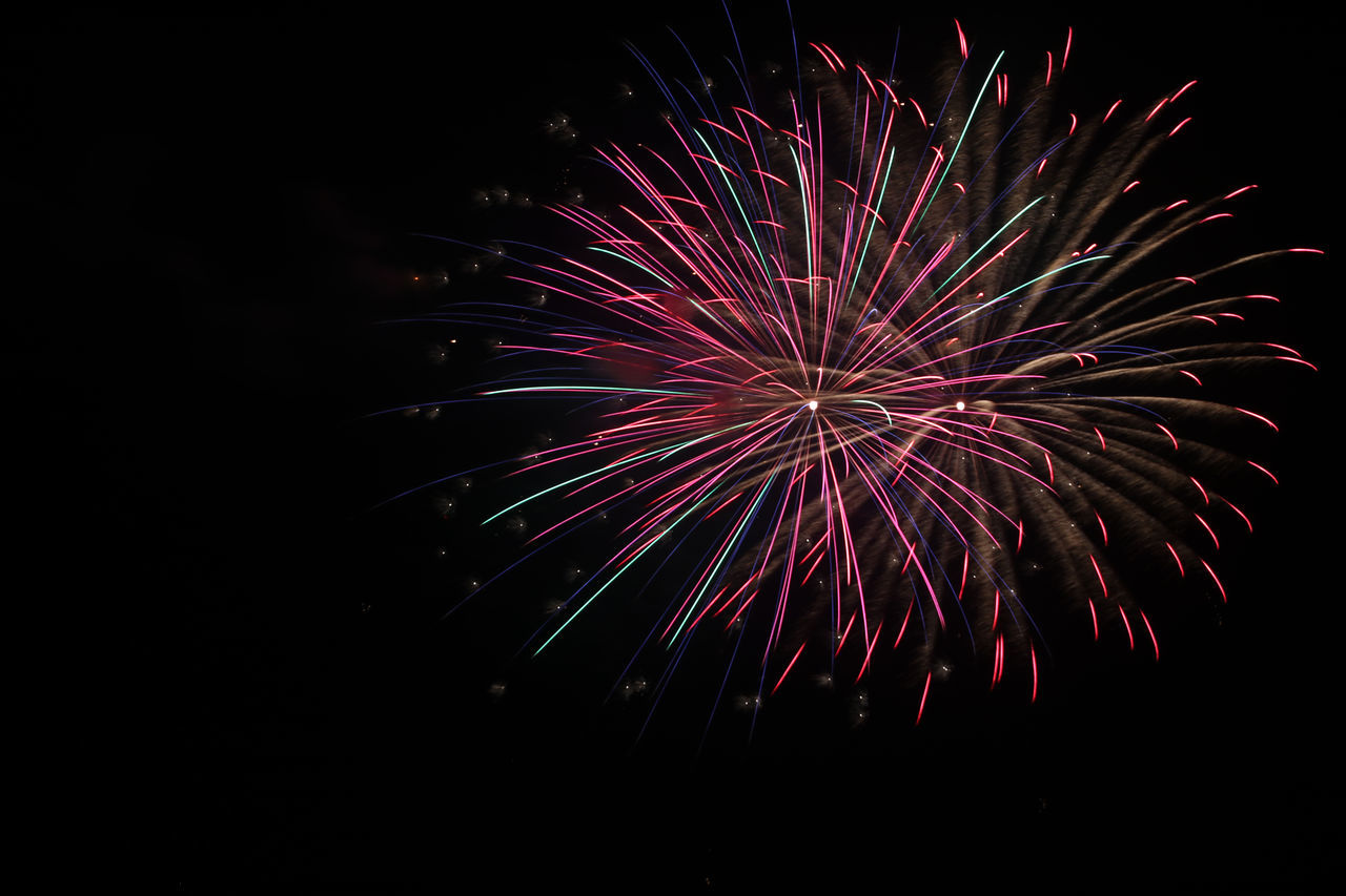 July 04 Fireworks Black Background Fireworks Glowing Long Exposure Night Sky Outdoors Room For Text Spark
