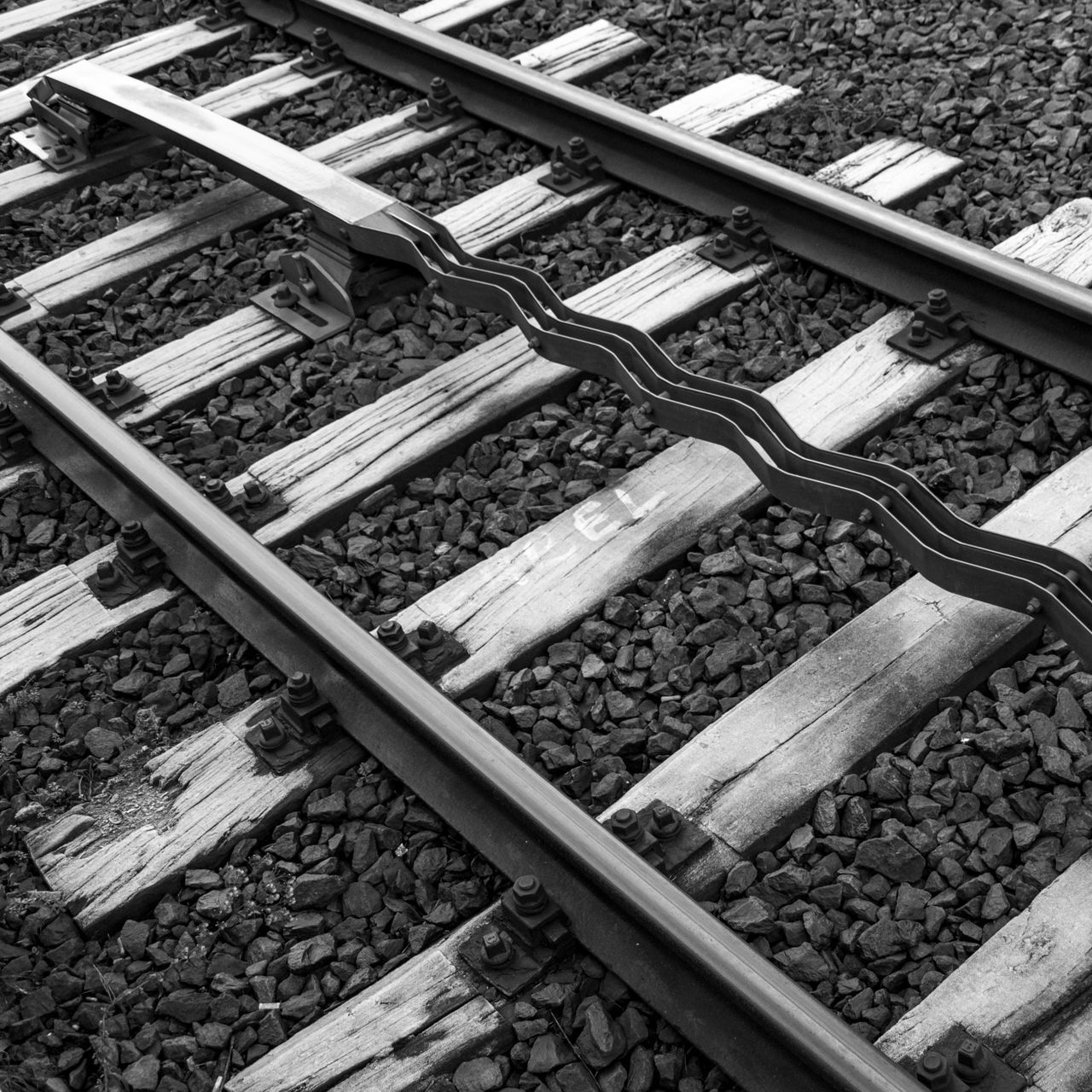 Diagonal Rails Black And White Black And White Photography City City Life Cityexplorer Close-up Day Diagonal High Angle View No People Outdoors Rail Transportation Railroad Track Urban Geometry Urban Lines Fine Art Photography Premium Collection