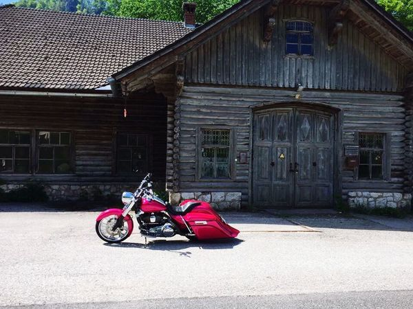 Built Structure Motorcycle Outdoors Chopper Harleydavidson Pink Color Baggerstyle Old Buildings