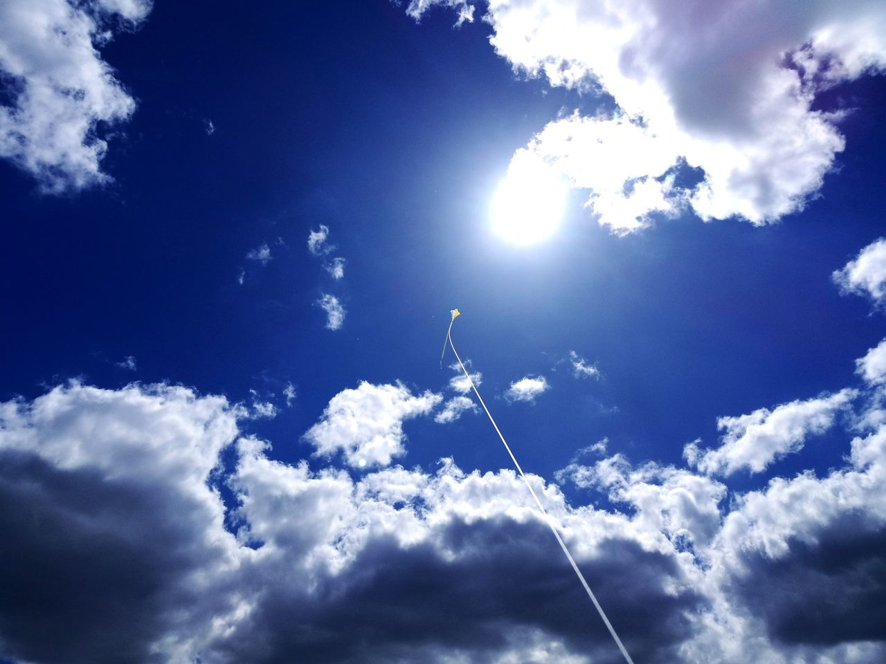 Ascending to sun... Sky Outdoors Low Angle View Cloud - Sky Nature Day EyeEmNewHere Sky Only Blue Flying Beauty In Nature Hook Arena Epsom England London Epsom And Ewell Kite Beauty In Nature Freshness Landscape Cold Temperature Flying High Flying Kite Flying Kites Flying A Kite