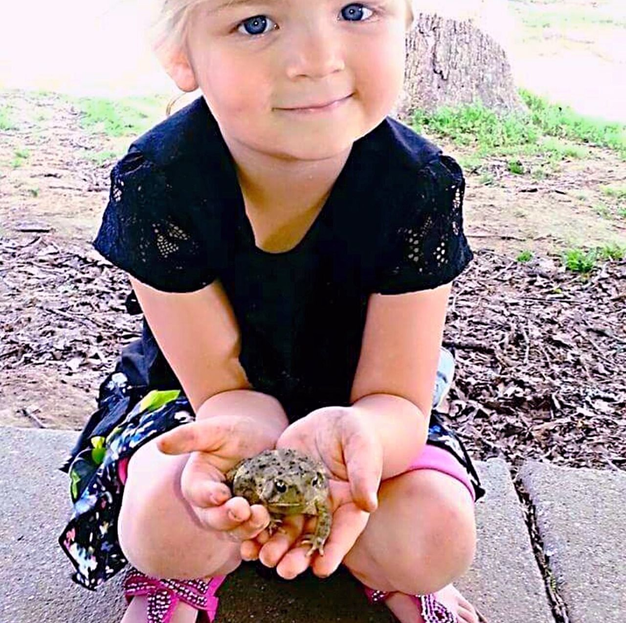 My Grand daughter and Prince Charming. Lol! Child Portrait Girls Human Body Part One Girl Only Looking At Camera One Person Childhood Children Only People Human Hand Outdoors Smiling Happiness Real People Nature Day Frog Nature Toad One Animal Animal Themes