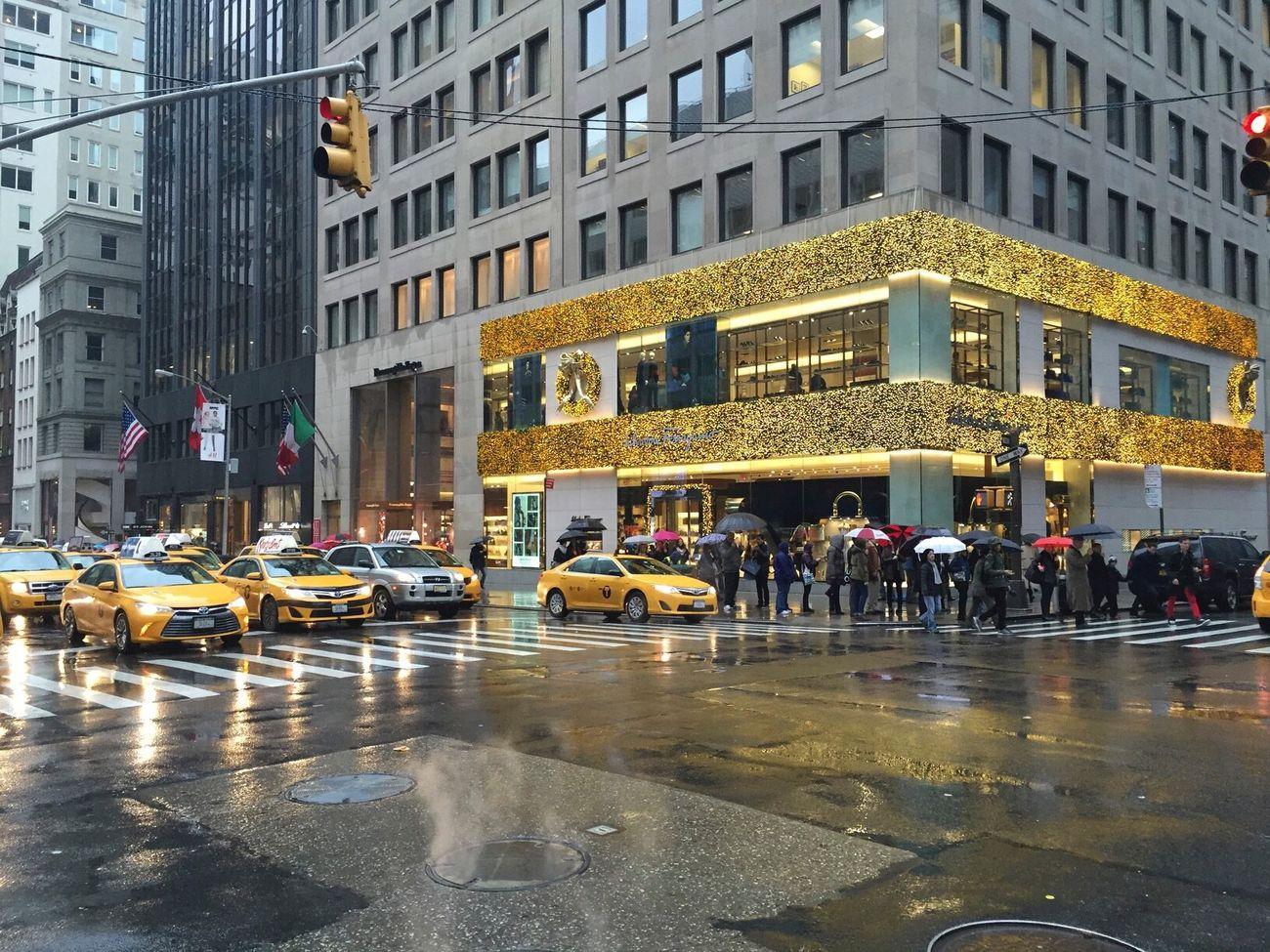 New York City Christmas Rain Yellow Light Cabs No Filter