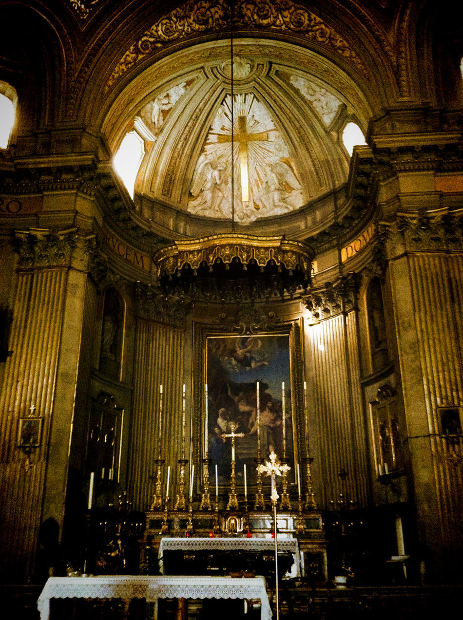Rome, Italy Sep 2 - 4, 2011 Altar Architecture Arts Culture And Entertainment Built Structure Church Cross Day Illuminated Indoors  Music No People Pew Place Of Worship Religion Spirituality Sunlight