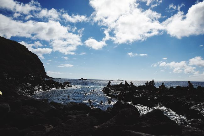 Sea Water Sky Rock - Object Nature Tranquil Scene Cloud - Sky Beach Beauty In Nature Horizon Over Water Scenics Tranquility Day Outdoors Wave Azores Swimming Clouds And Sky Ocean View Outdoor Photography Volcanic Beach Volcanic  Naturelovers Ocean Atlantic Ocean