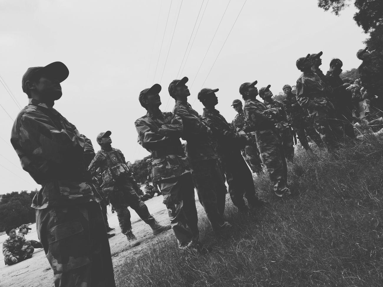 不日常的日常 Day Enjoyment Large Group Of People Outdoors Men Men At Work  Place Army Style Afternoon Looking For Trouble Black & White