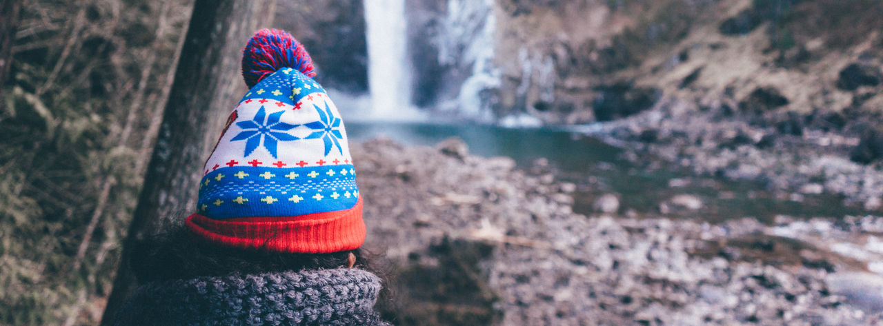 Poofball Cap Outdoors One Person Nature Twinpeaks Wanderlust Sonyimages EyeEm Masterclass PNW PNWonderland SONY A7ii Blue Vibrant Color Waterfall Grain Panoramic Lieblingsteil