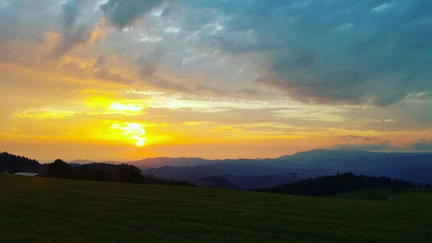 Blackforest Schwarzwald Hochschwarzwald Sunset Landscape Mountain Nature Tourism Cloud - Sky Sun Dramatic Sky Sky Tranquil Scene Scenics Tranquility Beauty In Nature Mountain Range Green Color Majestic Non-urban Scene Idyllic Atmospheric Mood Rural Scene