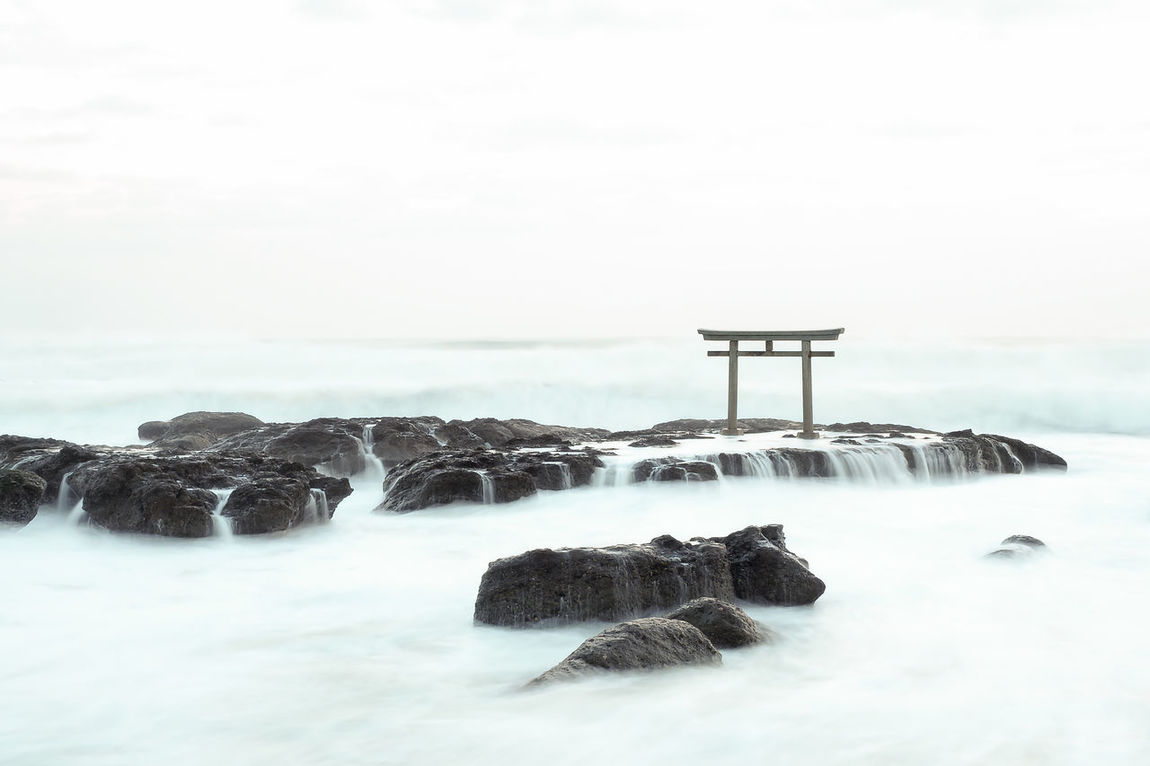大洗磯前神社 Beauty In Nature Day Horizon Over Water Ibaraki Japan Miles Away Monotone Nature No People Oarai-isosaki Outdoors Religion Sea Shrine Sky Sunrise TORII Travel Destinations Unseenthailand Water Wave