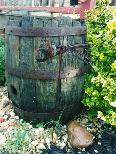 Day No People Outdoors Barrel Yard Decor