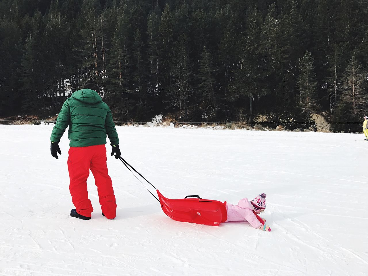 Parenthood Father Fatherhood Moments Toddler  Children Winter Snow Cold Temperature Warm Clothing Full Length Red White Color Leisure Activity Rear View Vacations Forest Outdoors Winter Sport People One Person Day Nature Tobogganing Ice Rink Adult