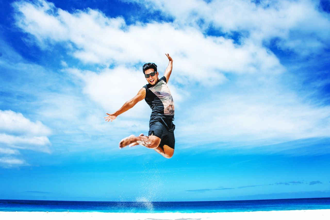 Happiness Happiness EyeEm Selects Mid-air Sky Jumping One Person Cloud - Sky Water