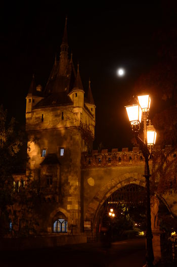 Built Structure Castle Church Gate History Moon Night Street Light Tourism Tower Vajdahunyad Vár Hungary