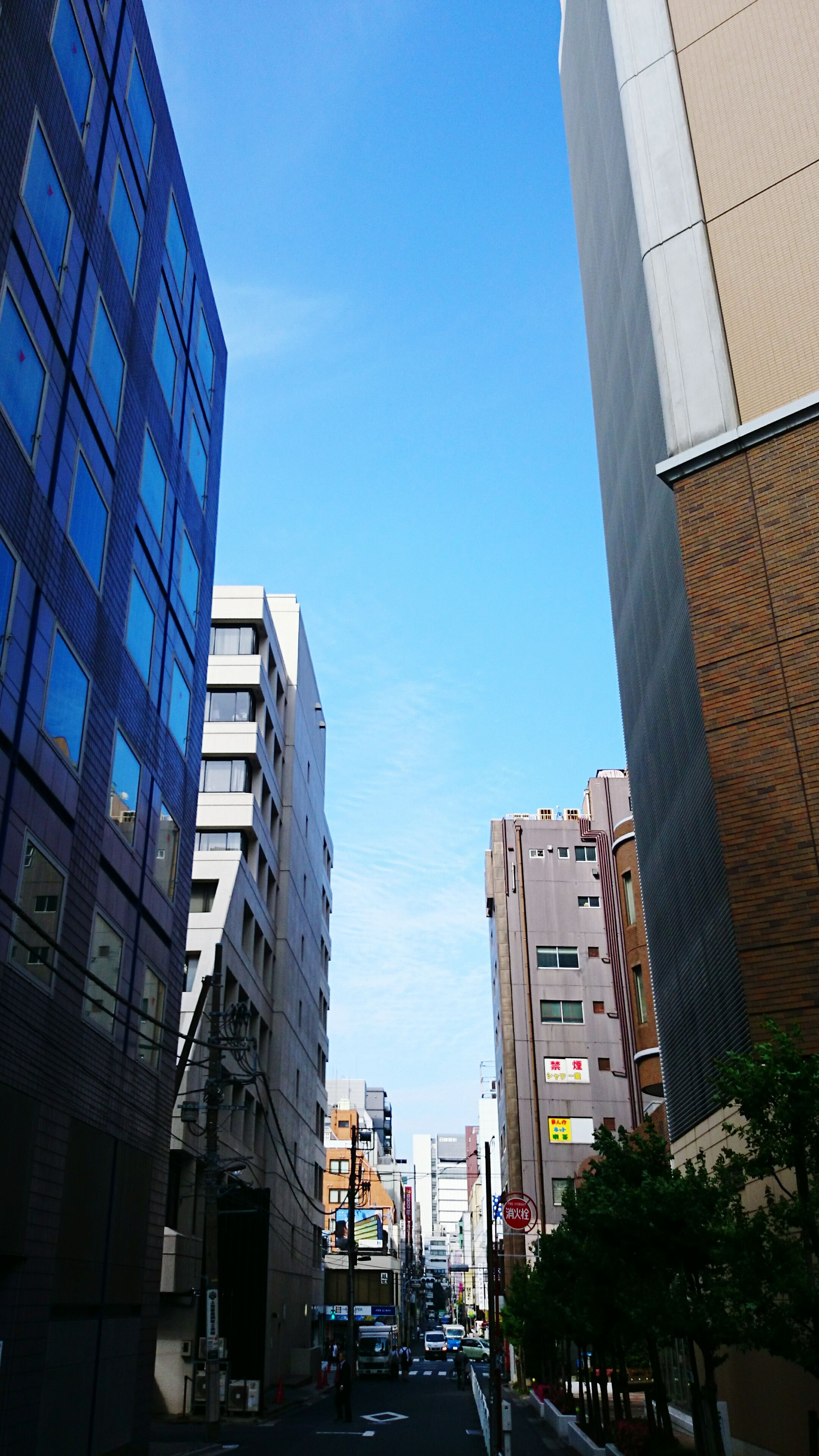 building exterior, architecture, built structure, city, modern, skyscraper, office building, low angle view, tall - high, building, tower, city life, clear sky, car, transportation, glass - material, street, day, sky, window