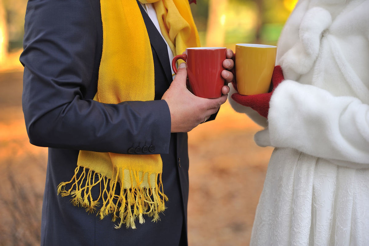 Autumn Bride Feelings Gloves Groom Hands He Love Meeting Red Red Cup Red Gloves Romance She Together Wedding Yellow Yellow Cup Yellow Scarf