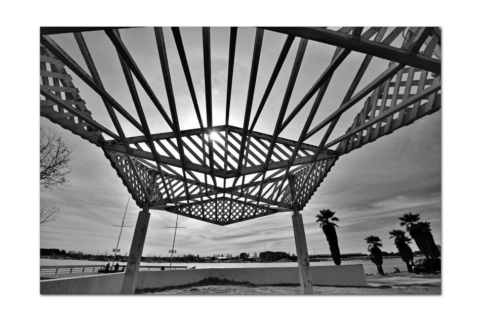 Picnic Concourse @ Estuary Park 2 Oakland/Alameda Estuary Waterfront Shore Jack London Square San Francisco Bay Trail Adjacent To Athletic Field & Aquactic Center Boat Launch Observation Deck Public Pier Monochrome Photograhy Monochrome Black & White Black & White Photography Black And White Black And White Collection  Architecture Architectural Detail Shadows Abstract Wood Canopy Geometric Patterns Angles Pattern Pieces Palm Trees Silhouettes Good Place To View Sailboats, Kayackers & Soccer