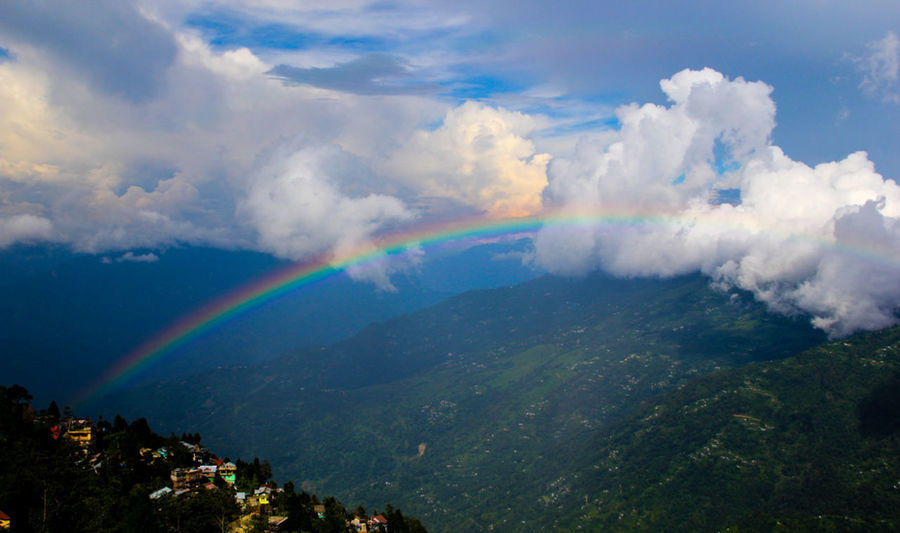 Beauty In Nature Cloud - Sky Day Double Rainbow Nature No People Outdoors Rainbow Tranquility